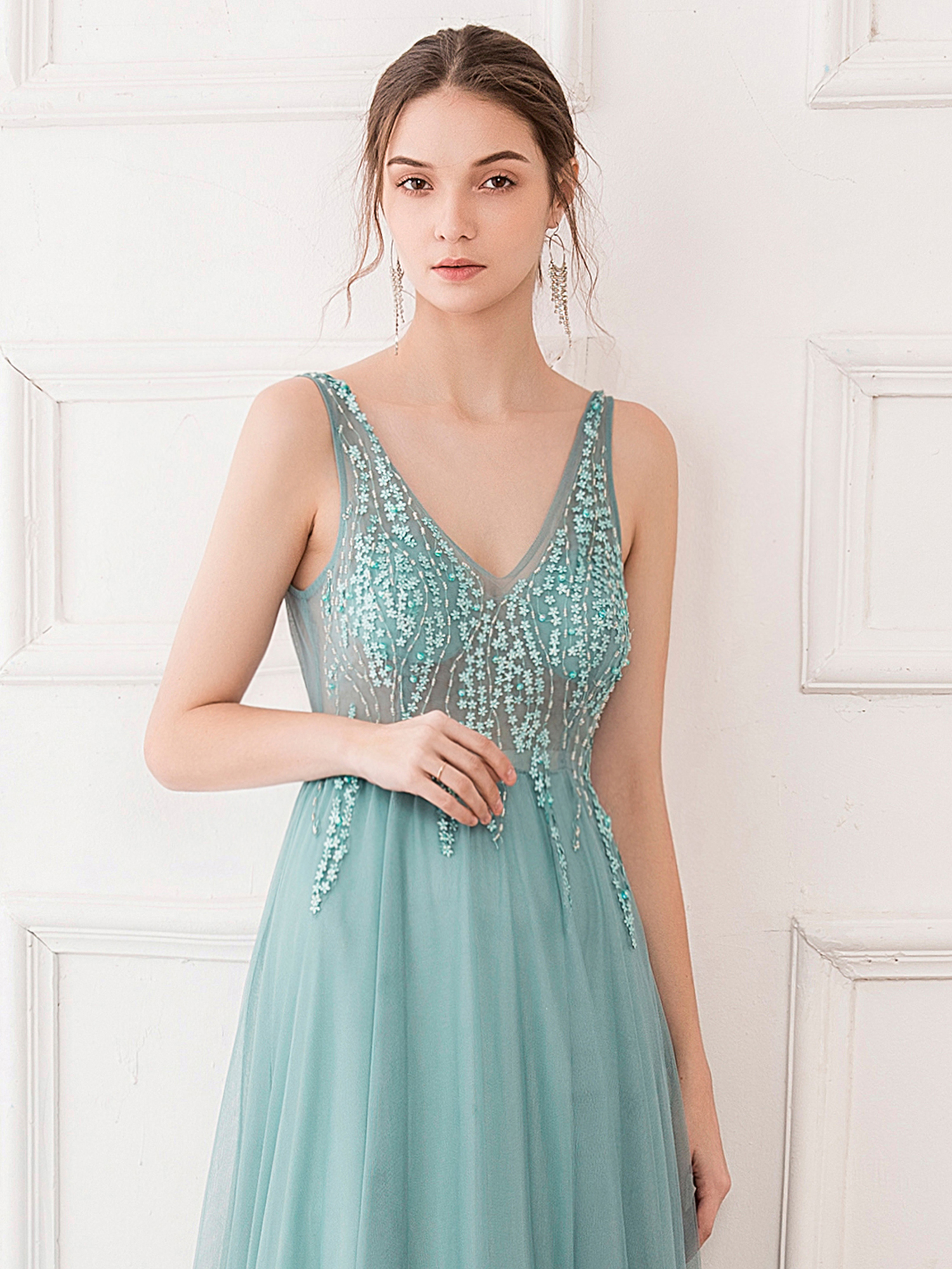 Ever-Pretty US See-through V Neck Long Bridesmaid Dress Formal Evening Ball Gown