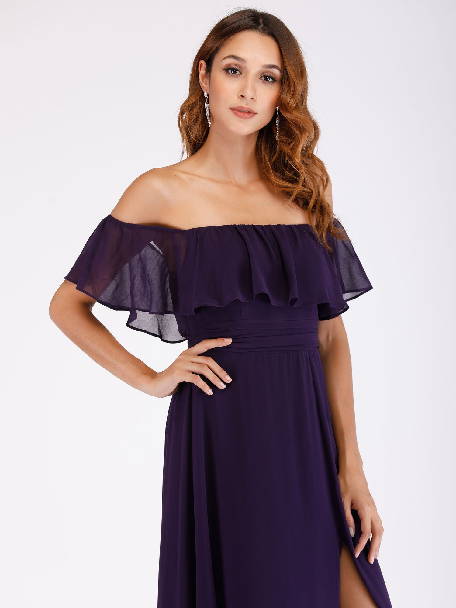 Ever-Pretty US Long Formal Dress Purple Off Shoulder Bridesmaid Ball Gown 00968