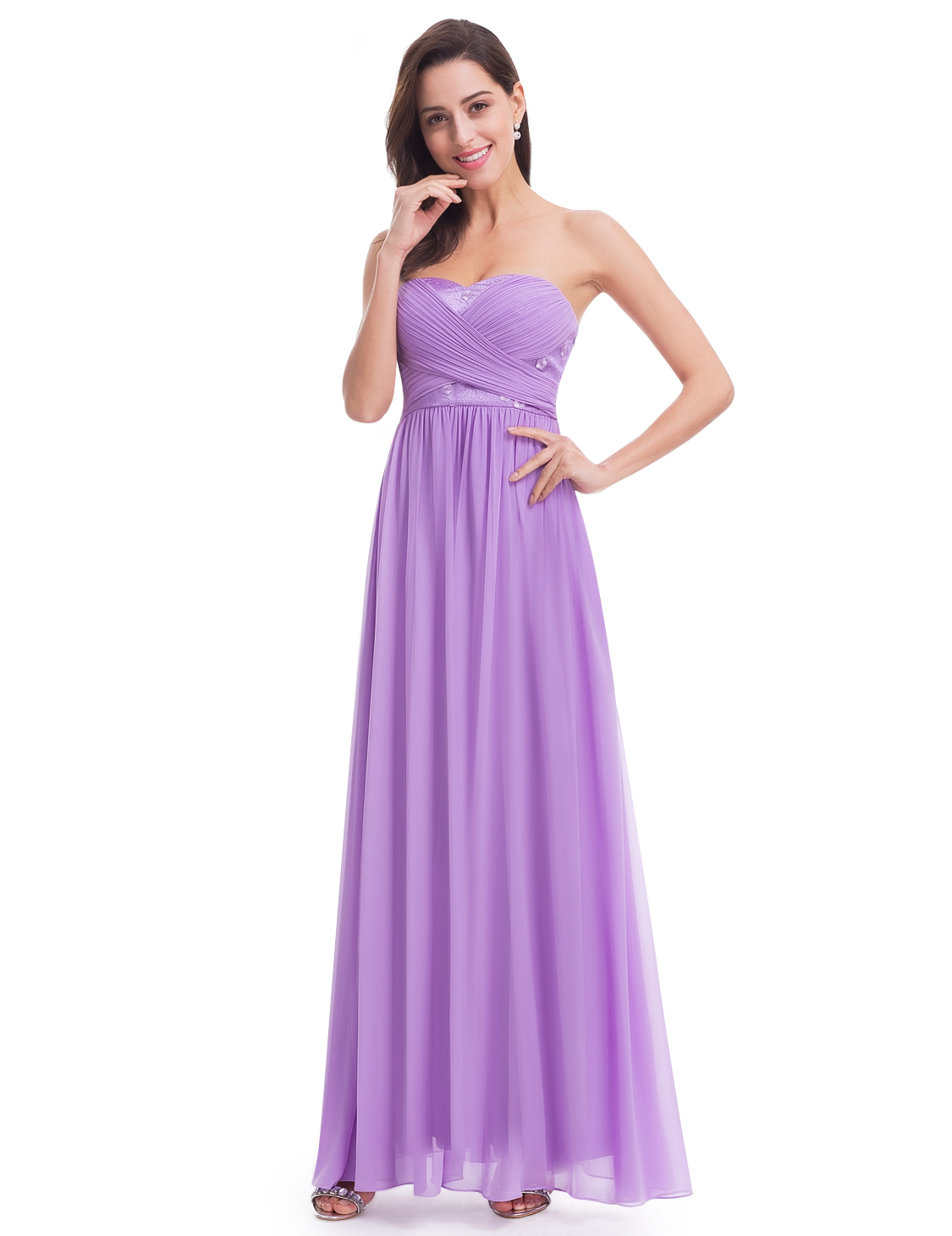 Ever-Pretty Strapless Long Bridesmaid Dresses Lavender Evening Prom Gowns 07057