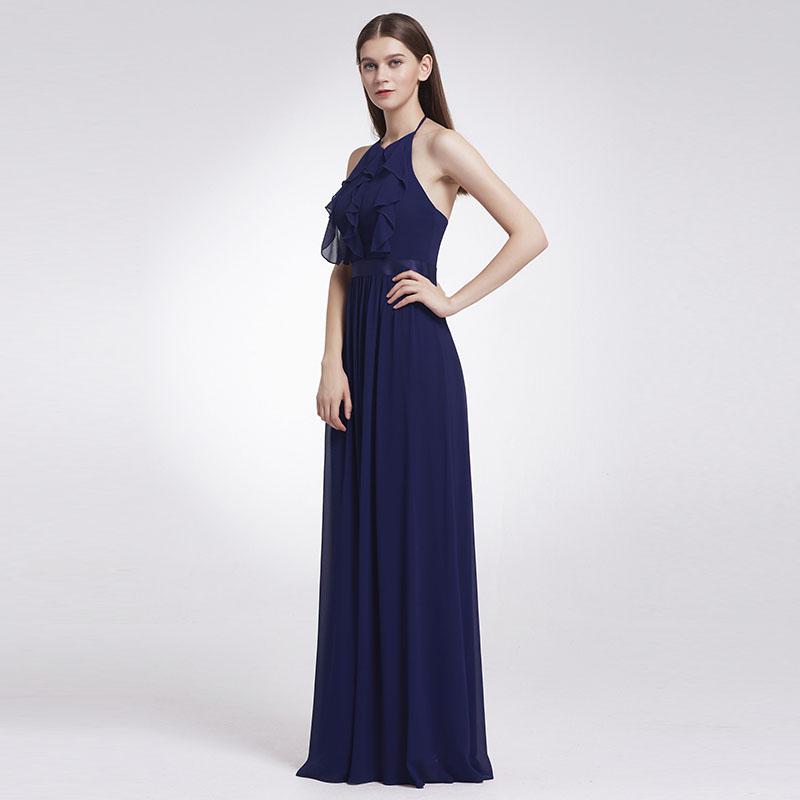 Ever-Pretty Long Bridesmaid Dresses Navy Blue Halter Pretty Formal Dresses 07201