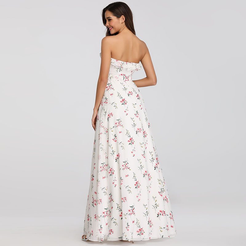Ever-Pretty US Strapless Wedding Dress White Printed Celebrity Summer Gown 07242