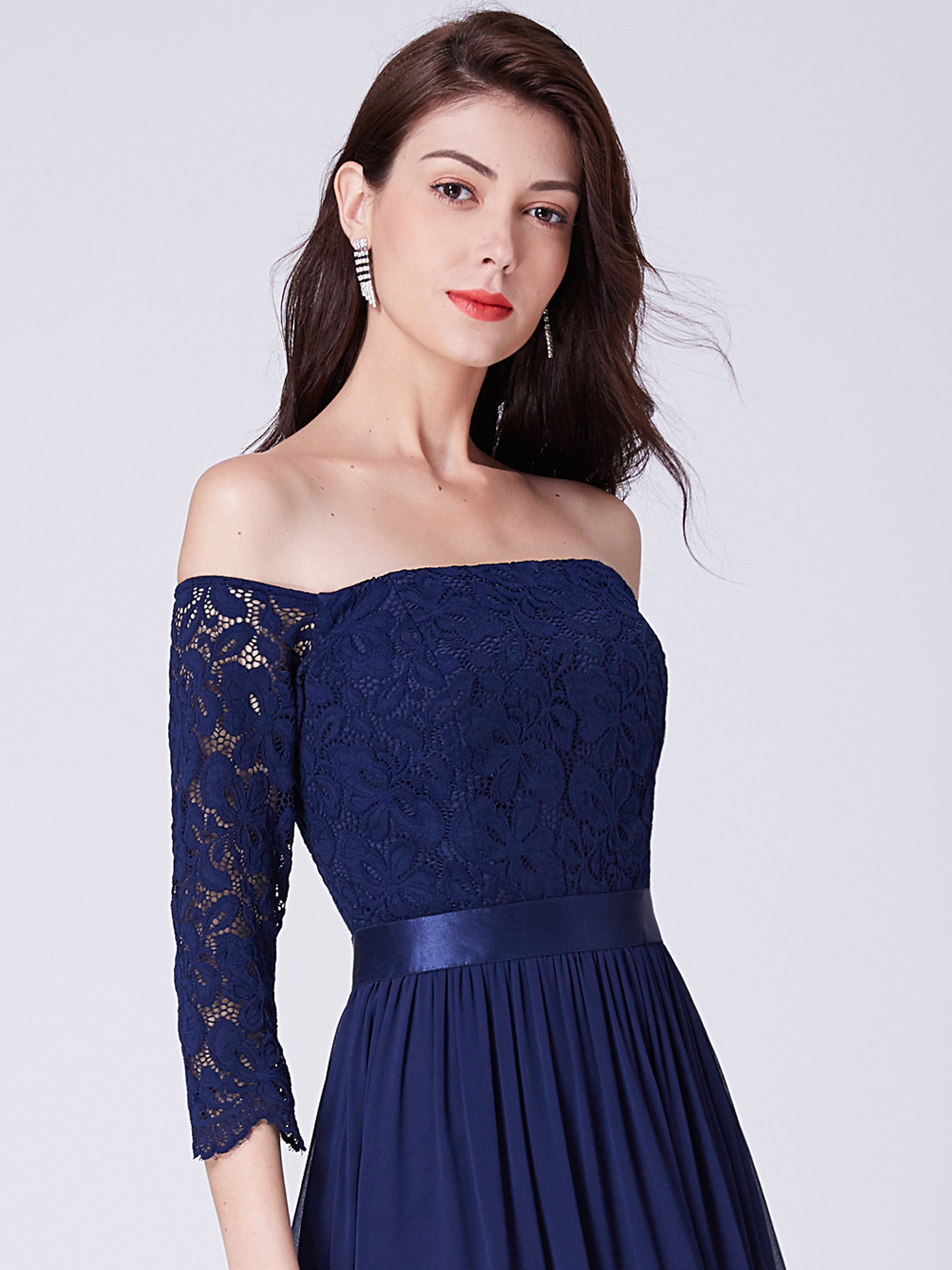 Ever-Pretty Chiffon Long Lace Sleeve Ball Off the Shoulder Bridesmaid Dresses