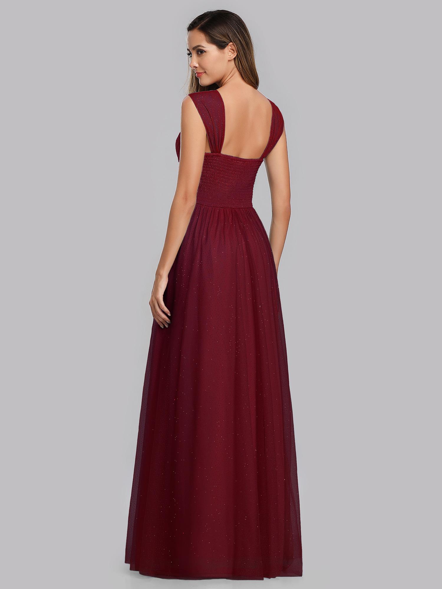 Ever-Pretty Burgundy V-neck Bridesmaid Dresses Backless A-line Wedding Prom Gown