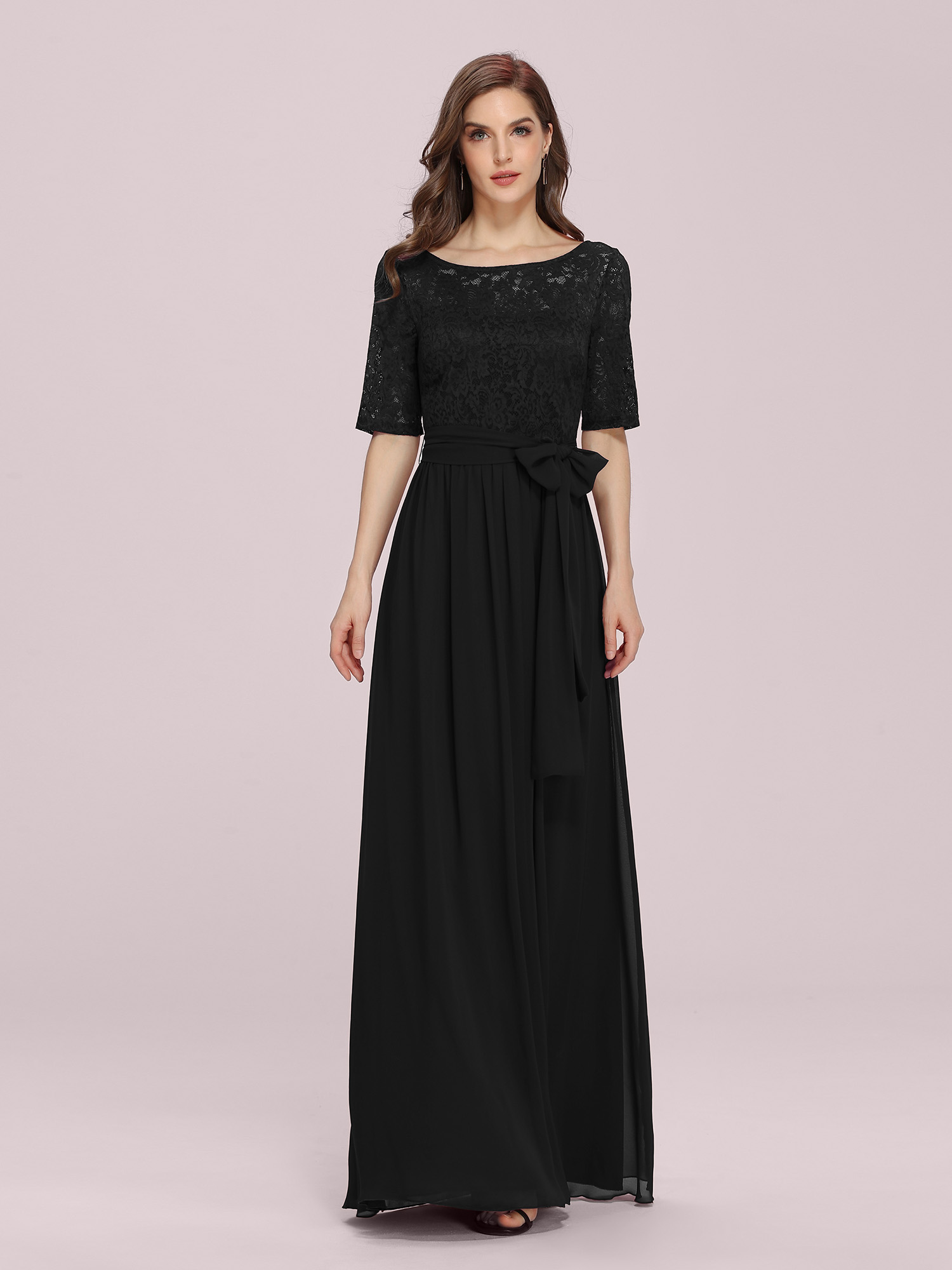 Ever-Pretty Plus Formal Gown Lace Sleeve Evening Dresses Black Mother Of Bride