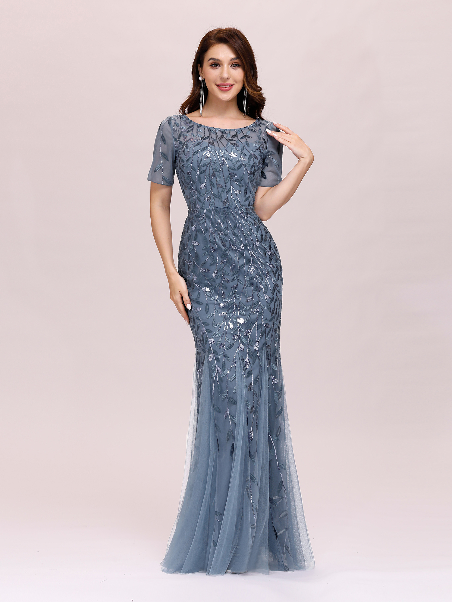 Ever-Pretty Homecoming Dresses Long Bodycon Sequins Applique Wedding Gowns 07707