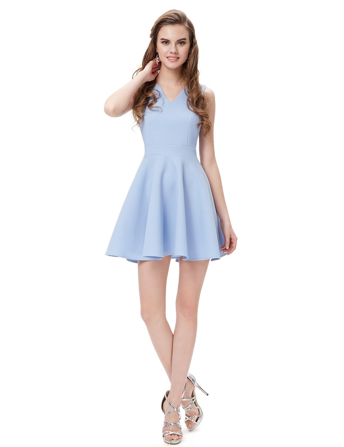 Ever Pretty Cute Fashion V neck Casual Blue Short Prom