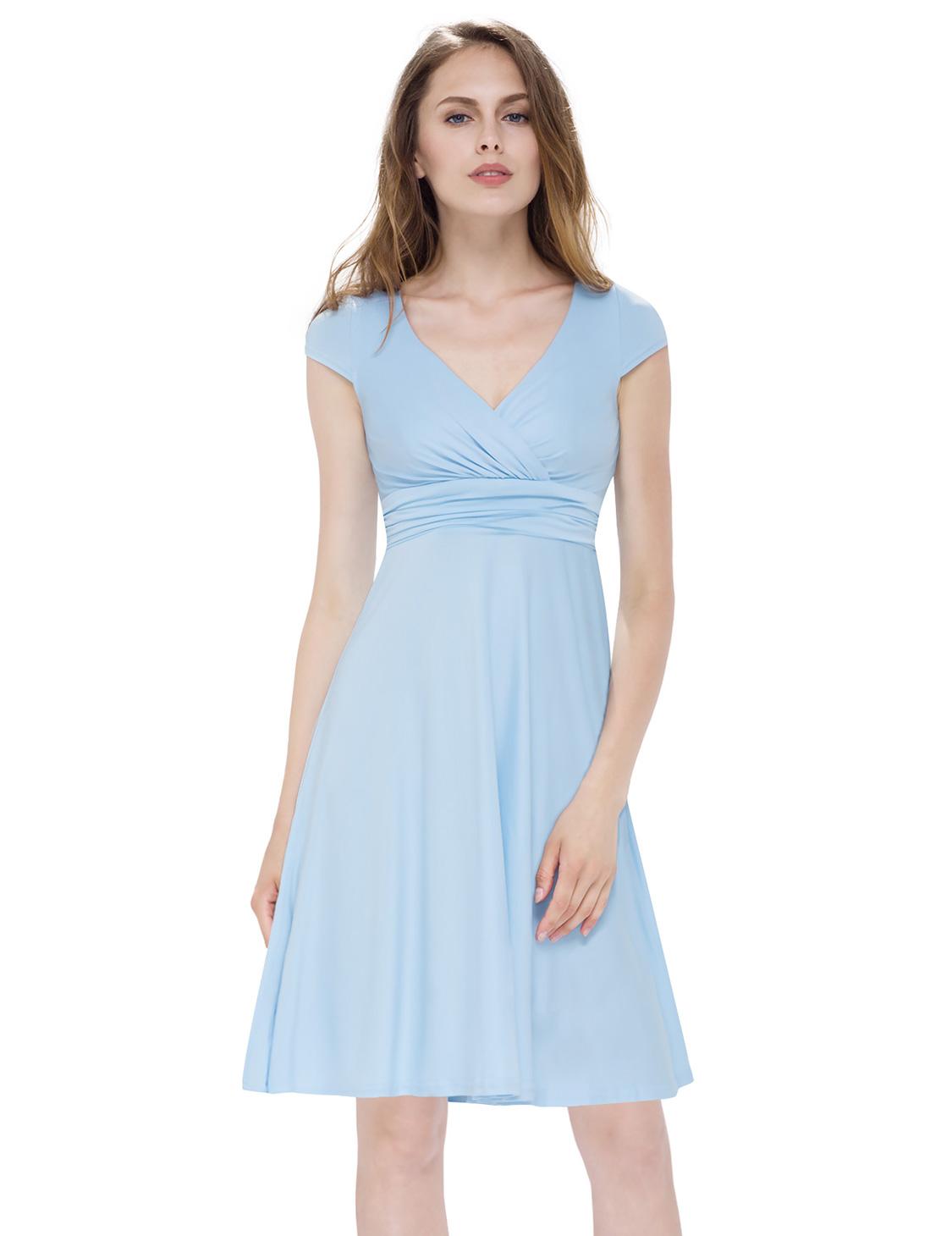 Ever Pretty Short Casual Dress for Women V-Neck A-Line ...