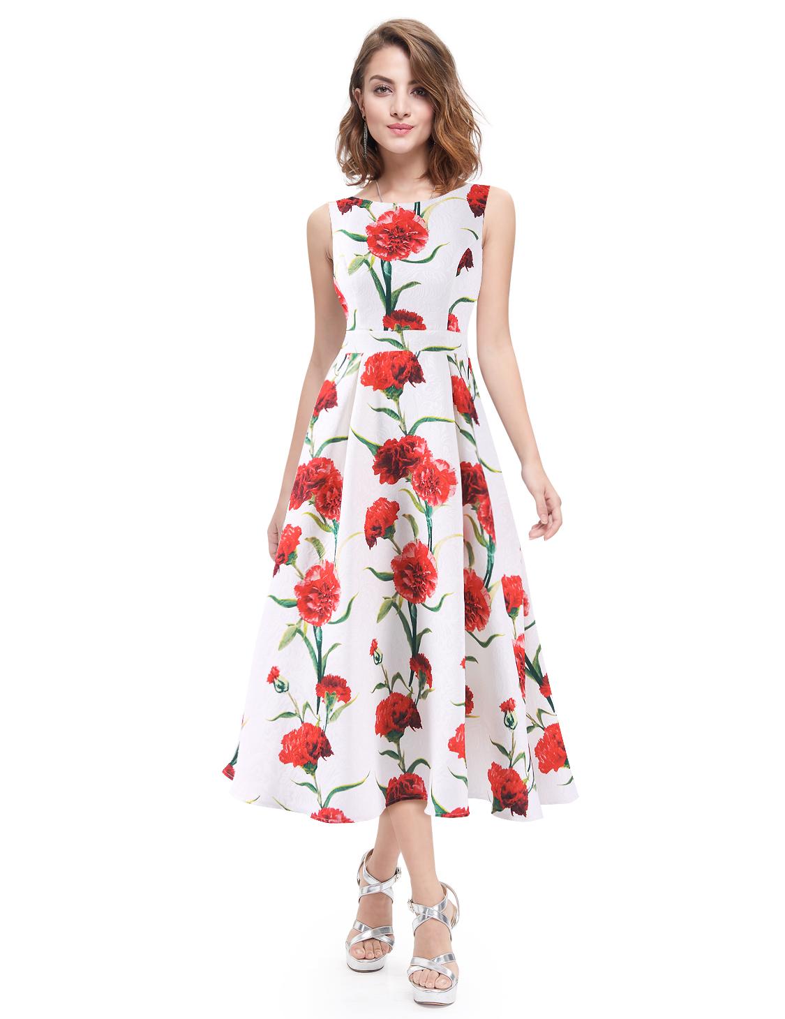 Women Summer Dresses Flower Printed Dress Knee Length ...