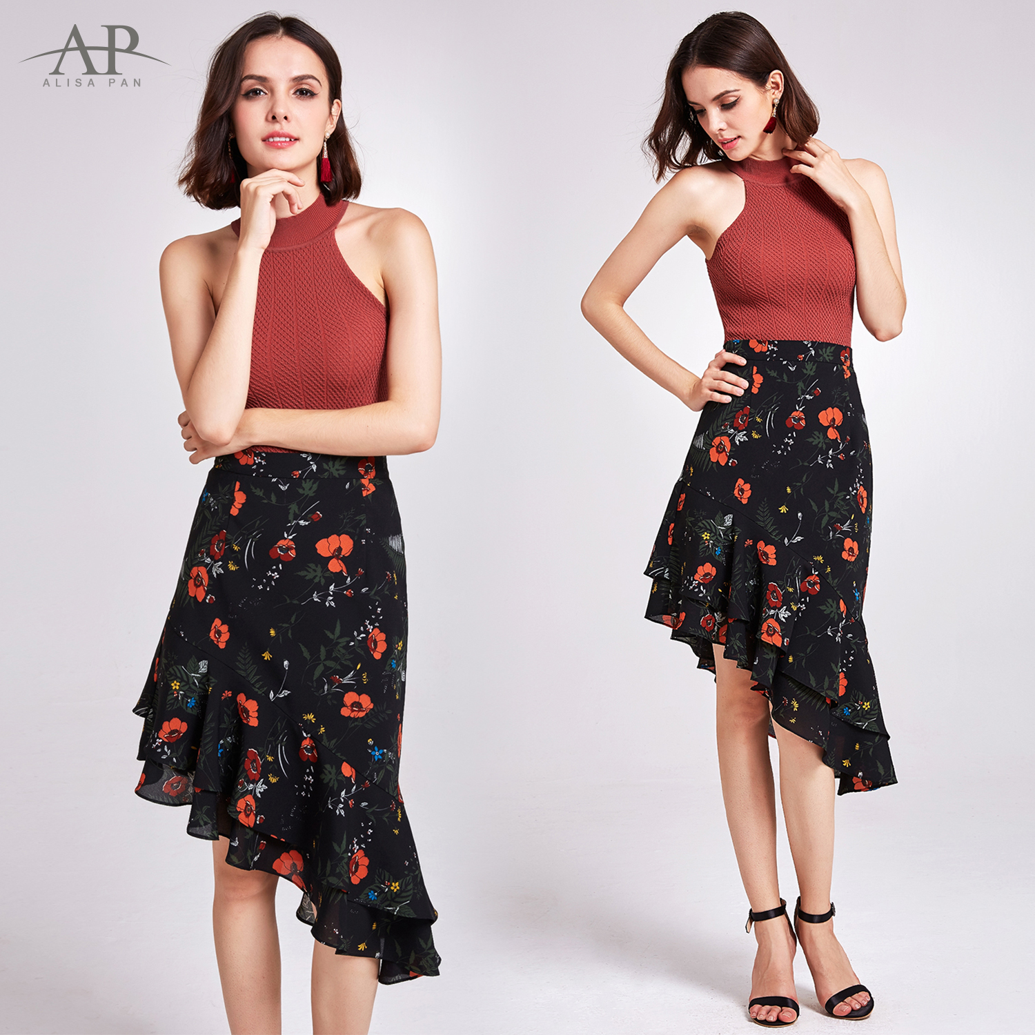 Waisted high floral skirt exclusive photo
