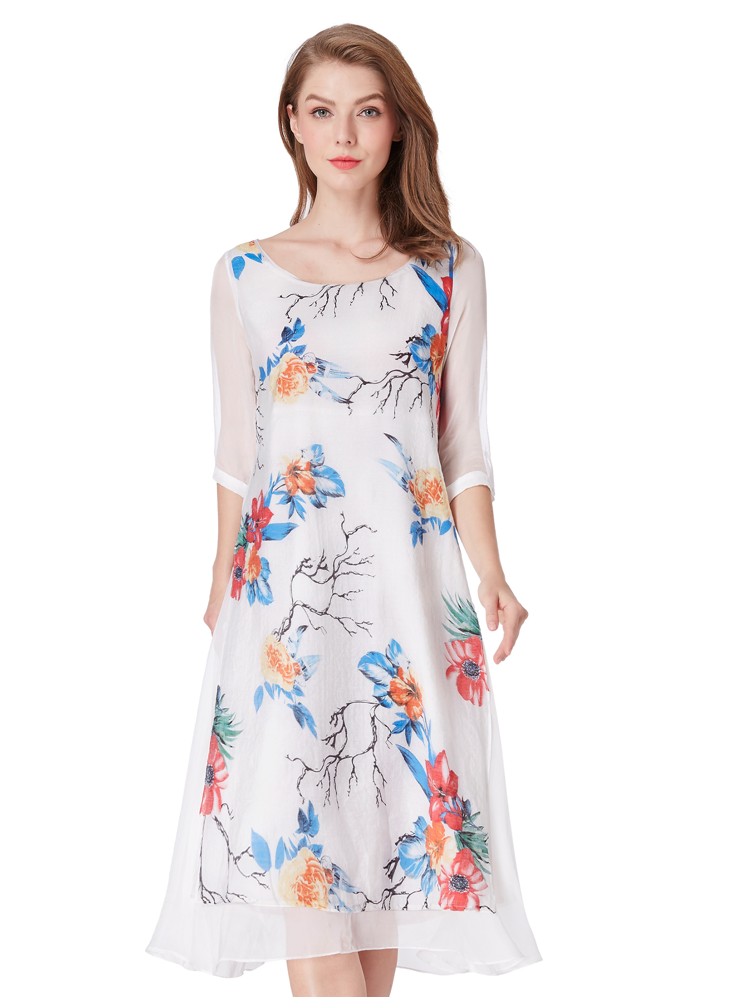 Alisa-Pan-Short-Floral-Print-Casual-Spring-Dress-Chinese-Traditional-Skirt-04000
