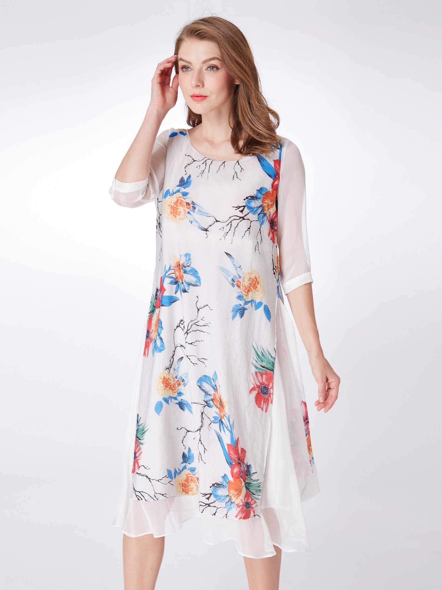 Alisa-Pan-Women-Casual-Dresses-Half-Sleeves-Flower-Printed-Beach-Dresses-04000