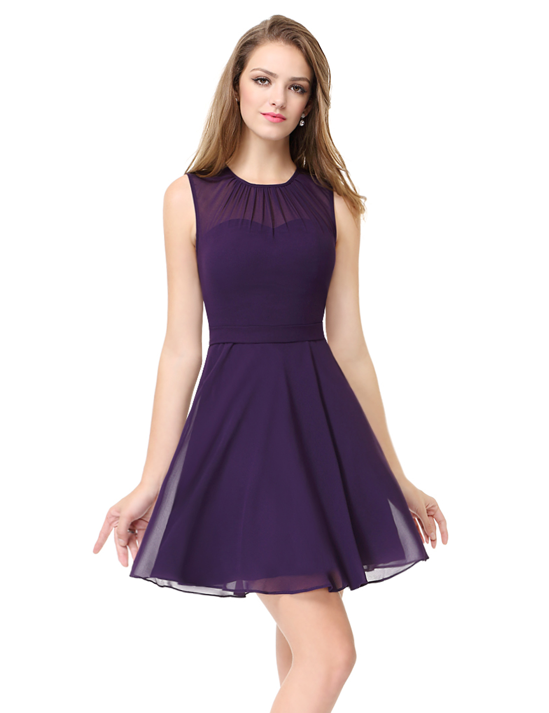 Short Bridesmaid Dress Chiffon Round Neck Homecoming Dresses 05253 ...