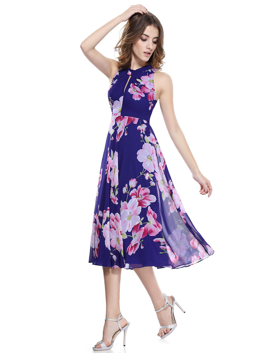 Alisa Pan Summer Beach Dress Floral Cocktail Party Casual Midi ...