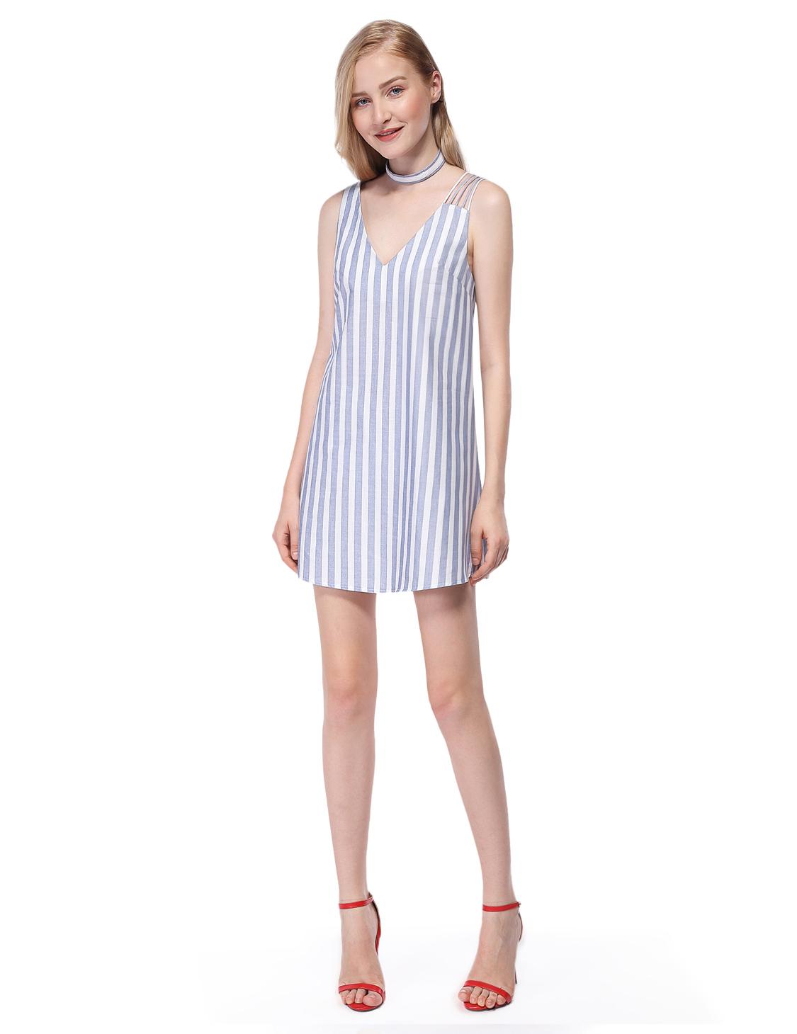 cafd13fff2550 Alisa Pan Summer V-Neck Sleeveless Striped Dress White Cotton ...