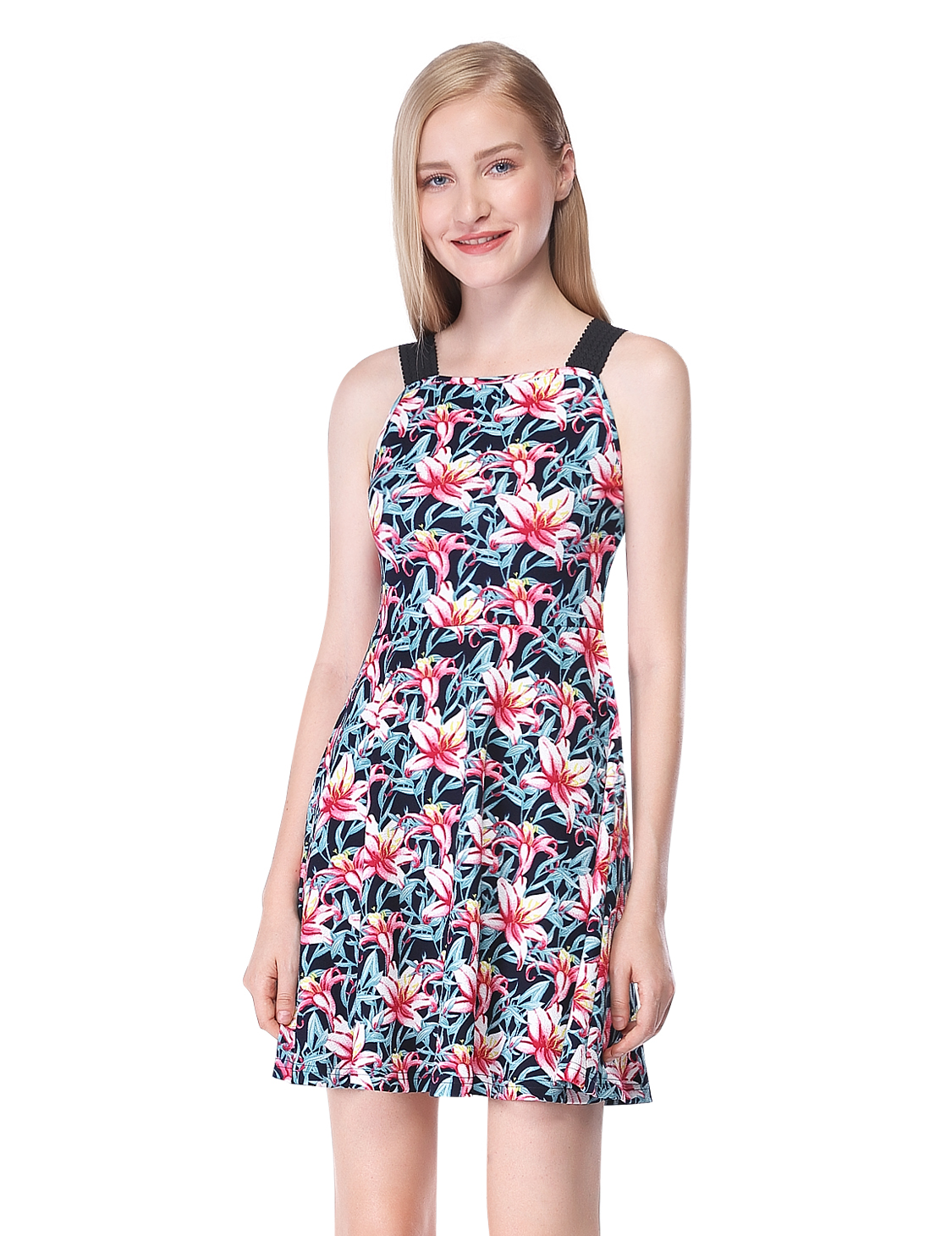 Alisapan Women's Navy Blue Floral Printed Short Casual ...