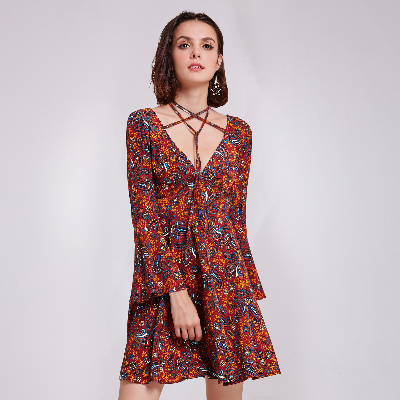 Alisa-Pan-Short-V-Neck-Printed-Flare-Sleeves-A-Line-Casual-Holiday-Dresses-05757