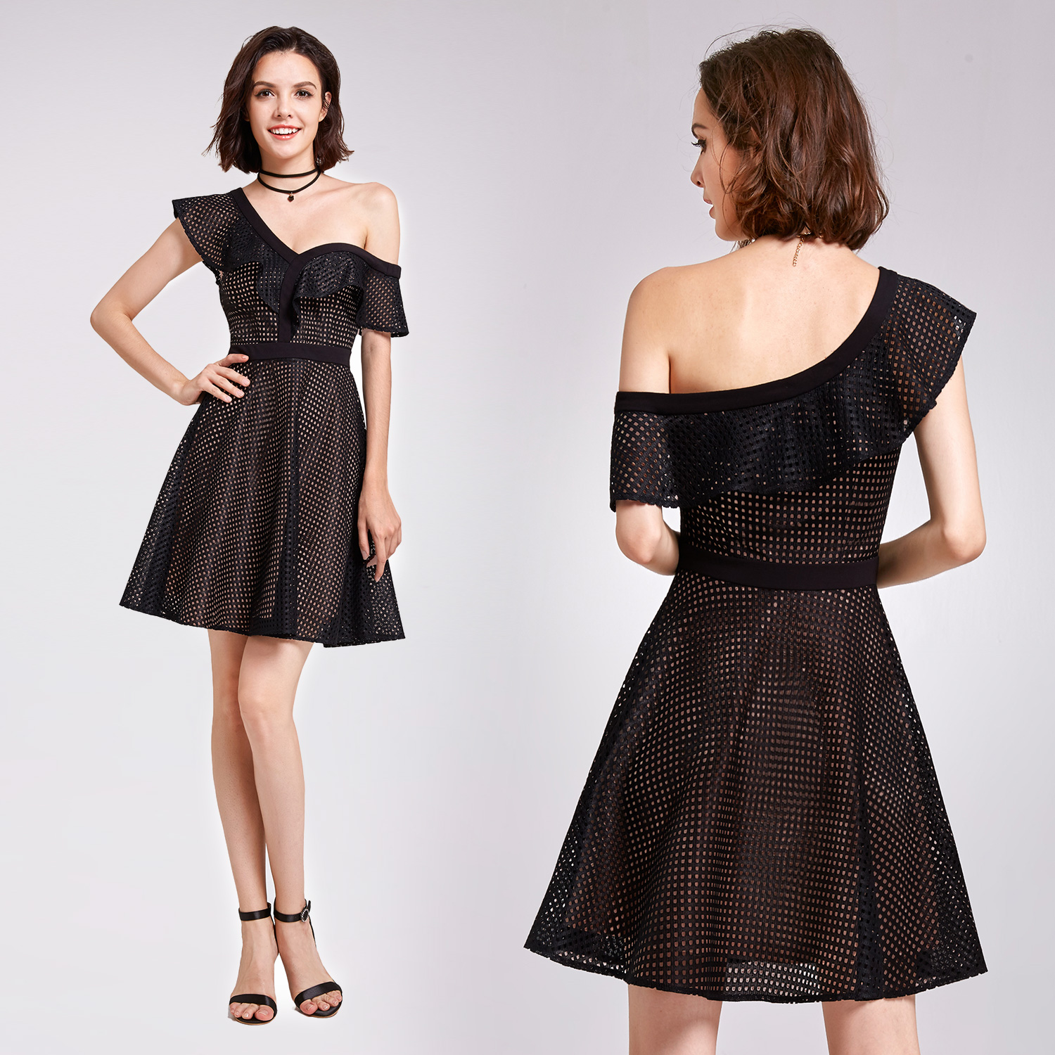 d6a8241bb63c Alisa Pan Mini Ruffles Little Black Dress Short Cocktail Party ...