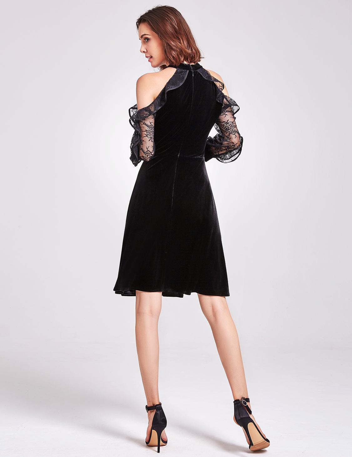 Alisa Pan Cold Shoulder Velvet Evening Dresses Black Lace Sleeve