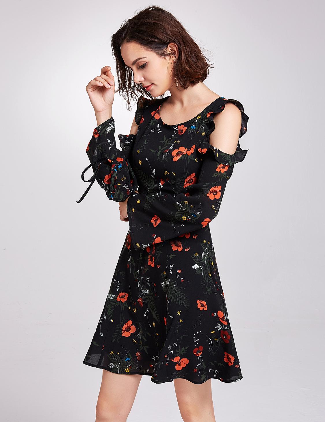 f7aa08519a97a Alisa Pan Summer Dresses Maxi Retro Floral Long Sleeve Short Casual ...