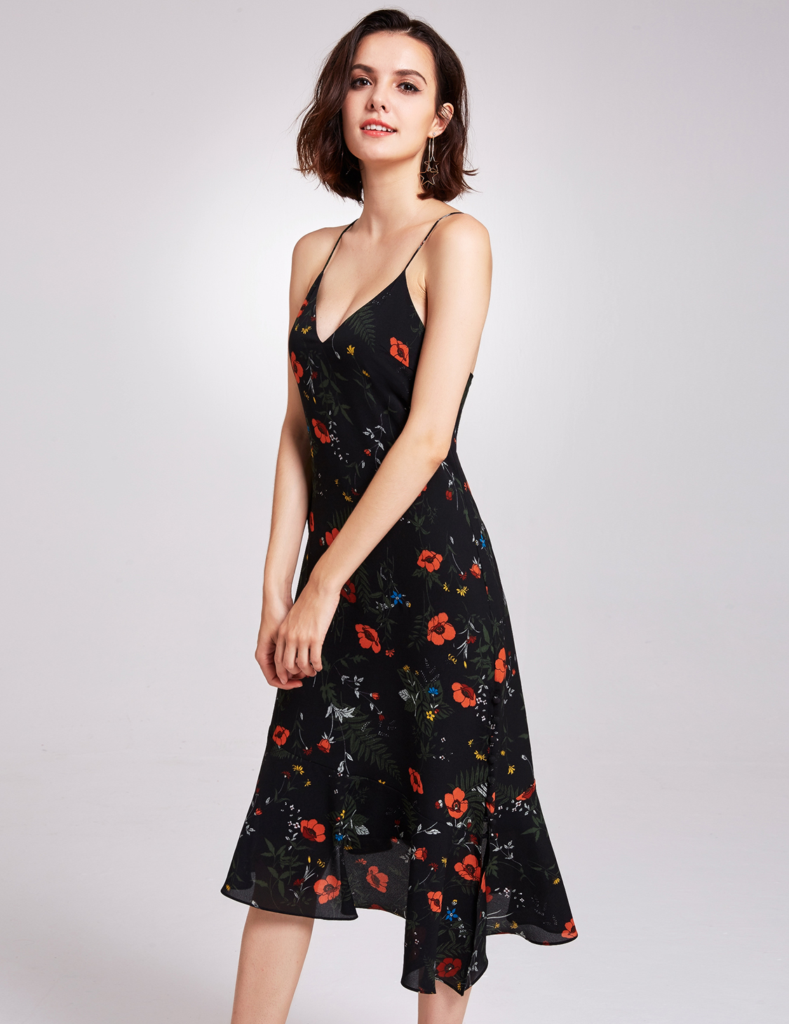 Alisa Pan Short Cocktail Dresses Sexy V-neck Floral Casual Holiday ...