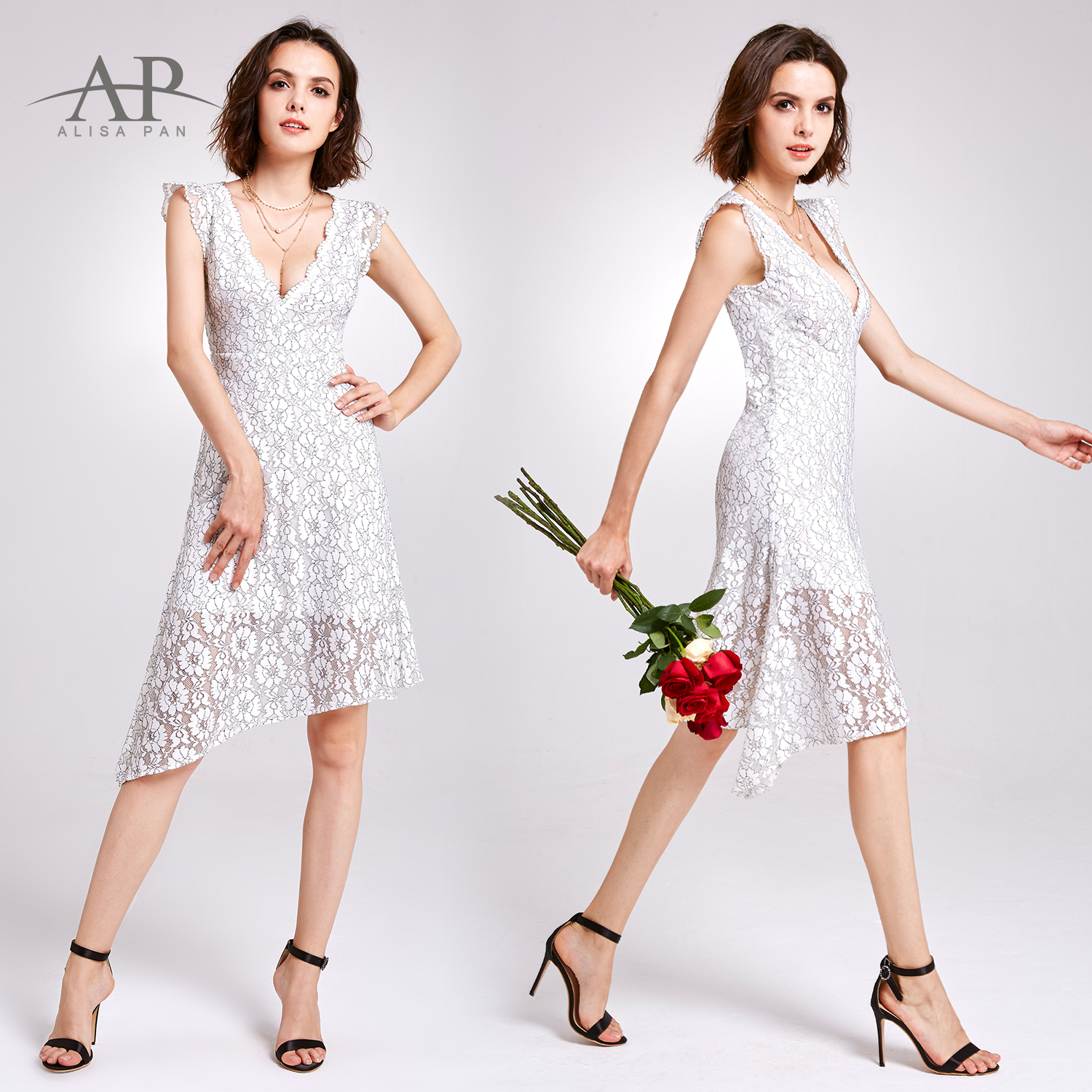 Ever Pretty Vintage White Lace Dress Midi Prom Dresses Women Formal ...