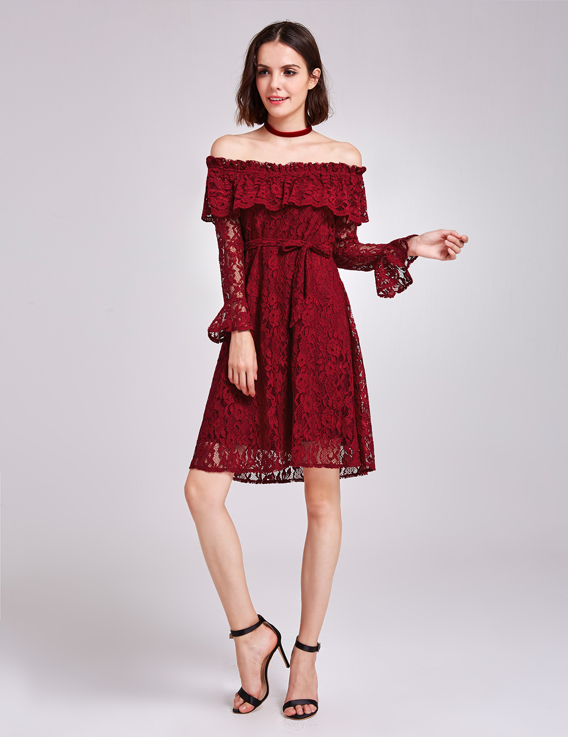 b55bfd27435a Alisa Pan US Burgundy Lace Party Dresses Off Shoulder Short Casual ...