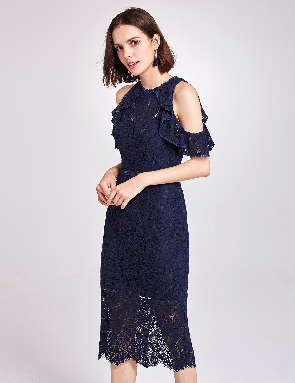 34a64d5b30f Details about Alisa Pan Lace Cocktail Dress Cold Shoulder Navy Blue Midi Casual  Dresses 05920
