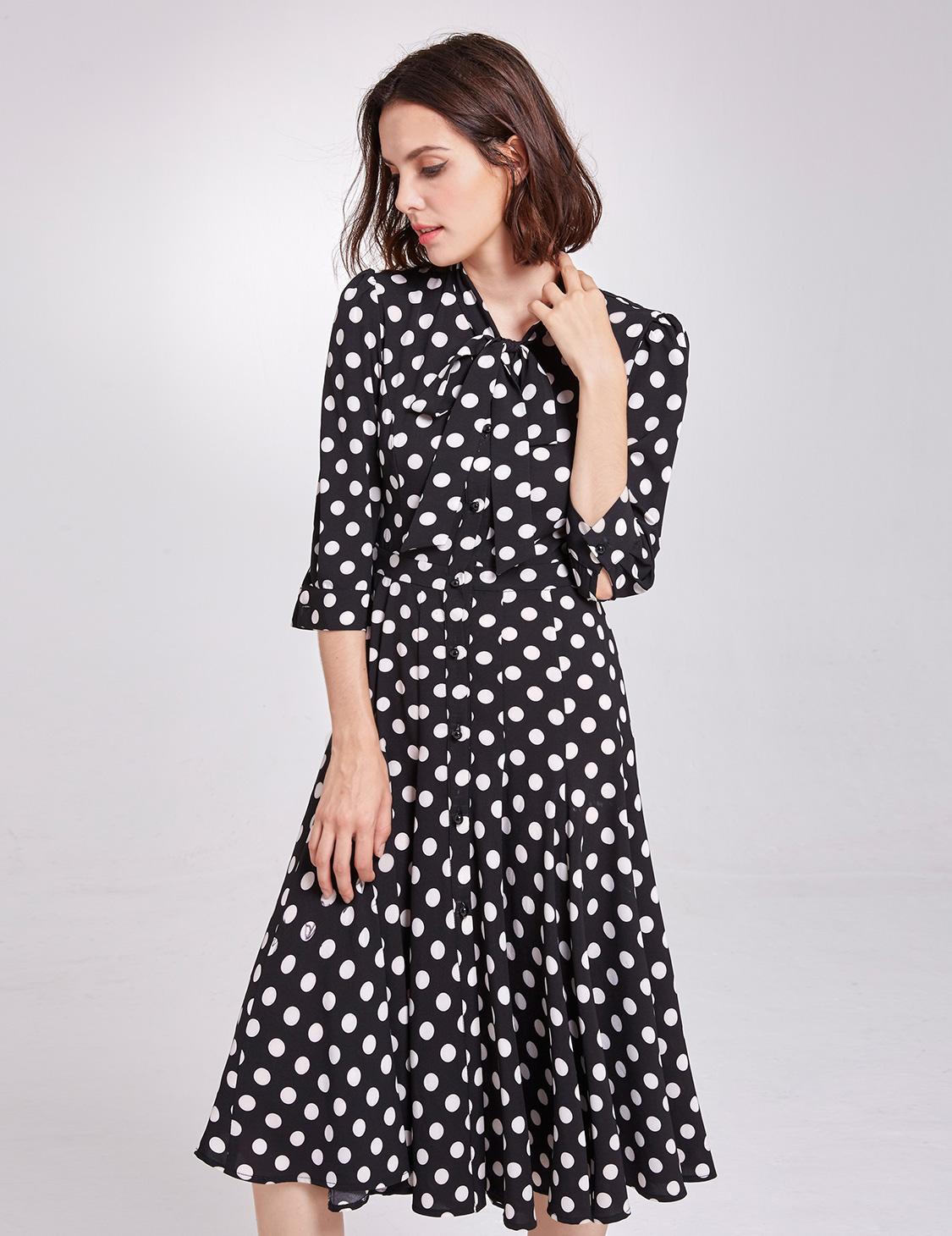 Alisa-Pan-Vintage-Cocktail-Dress-Polka-Dot-Elbow-Sleeve-Casual-Party-Dress-05930