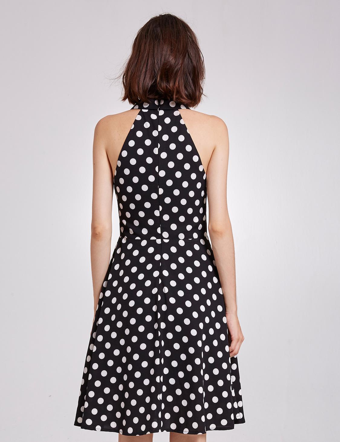 Short Polka Dot Party Dress Summer V-Neck Vintage Casual ...