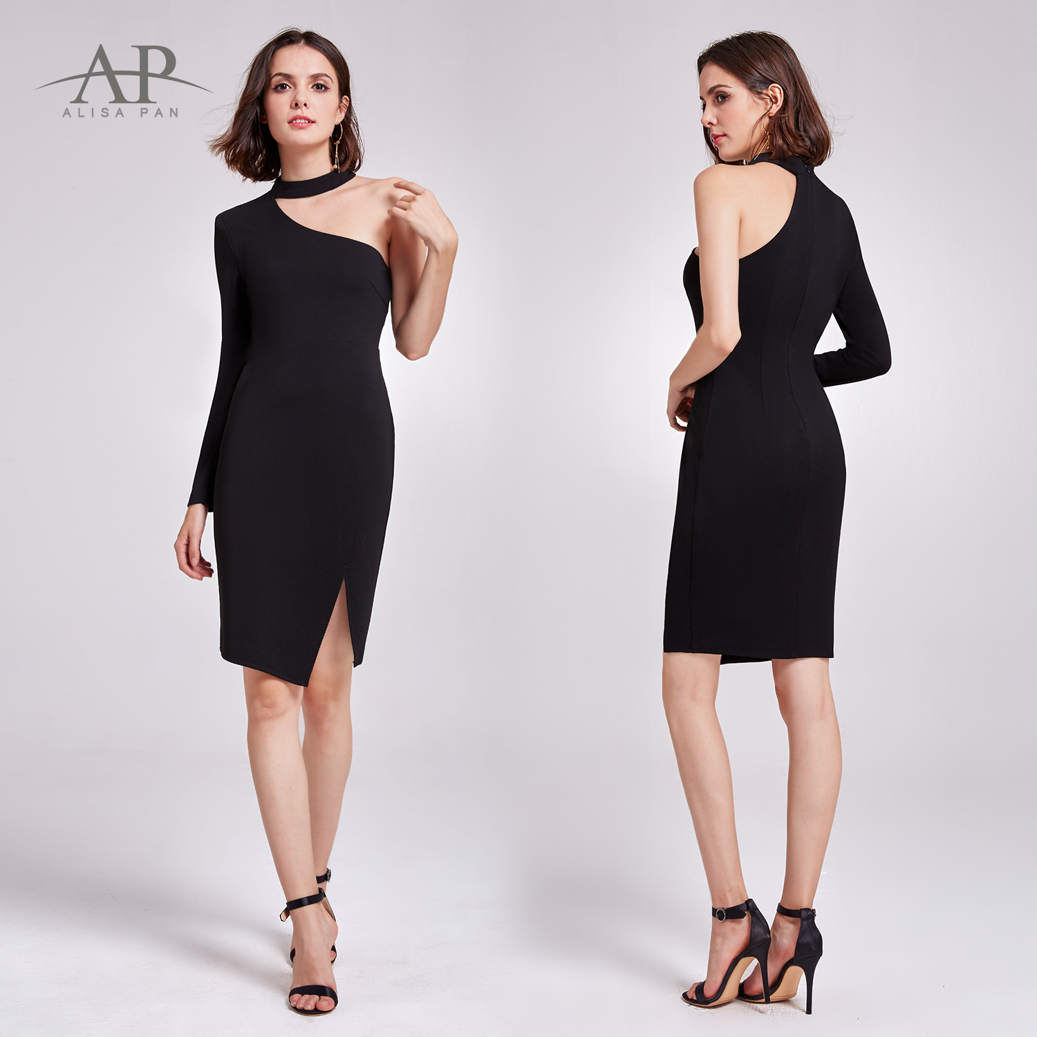 55f5e967a23f Alisa Pan Women Bodycon Black Dresses Midi Party Evening Club 05940 ...