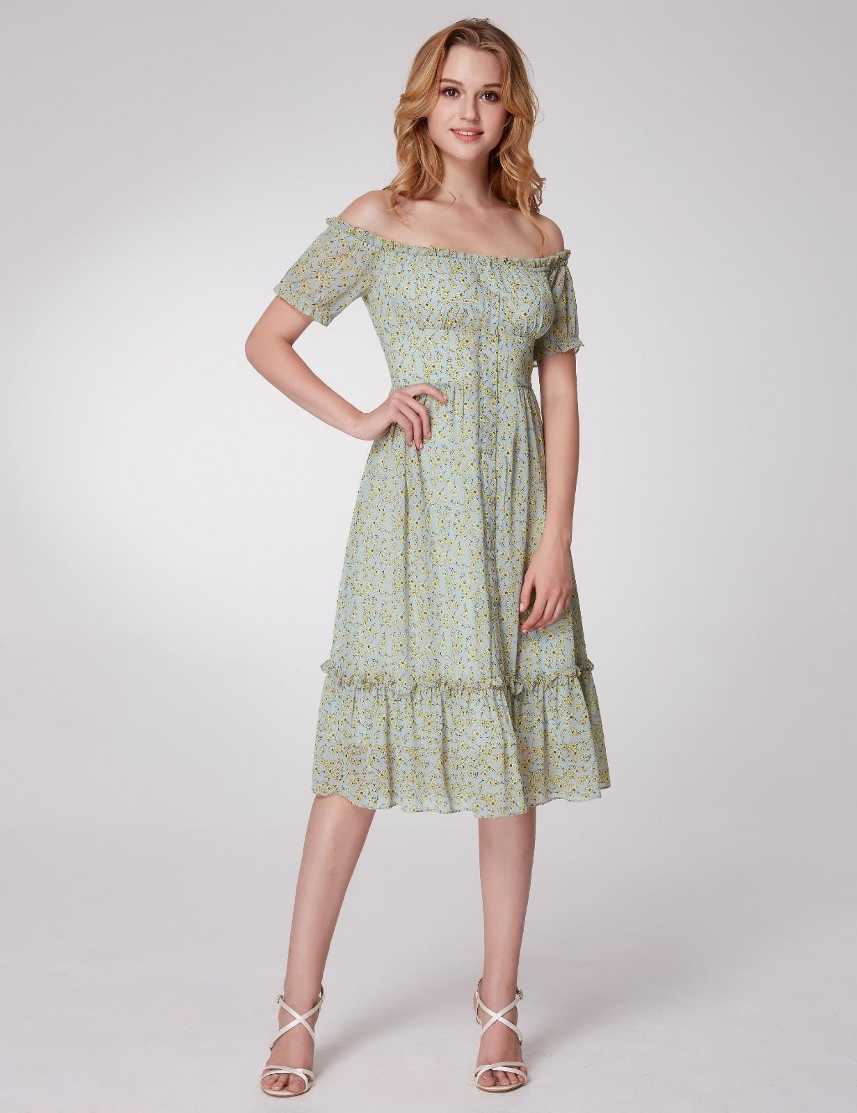 bc29ddd2b3c6 Details about Alisa Pan US Short Off Shoulder Casual Dresses Floral Printed Summer  Dress 05958