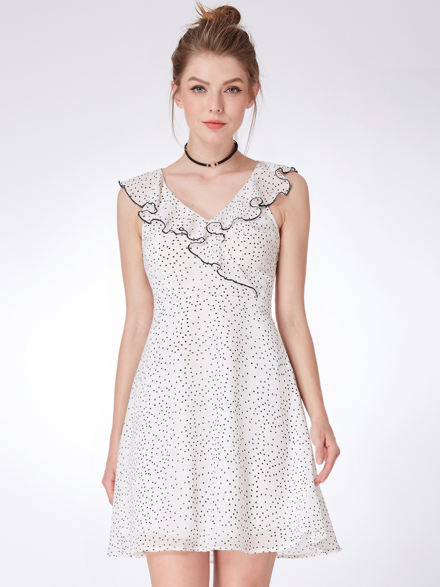 76c3e328030 Details about Alisa Pan US Short Fashion Sleeveless Spotted Casual Dresses  Summer Skirts 05986