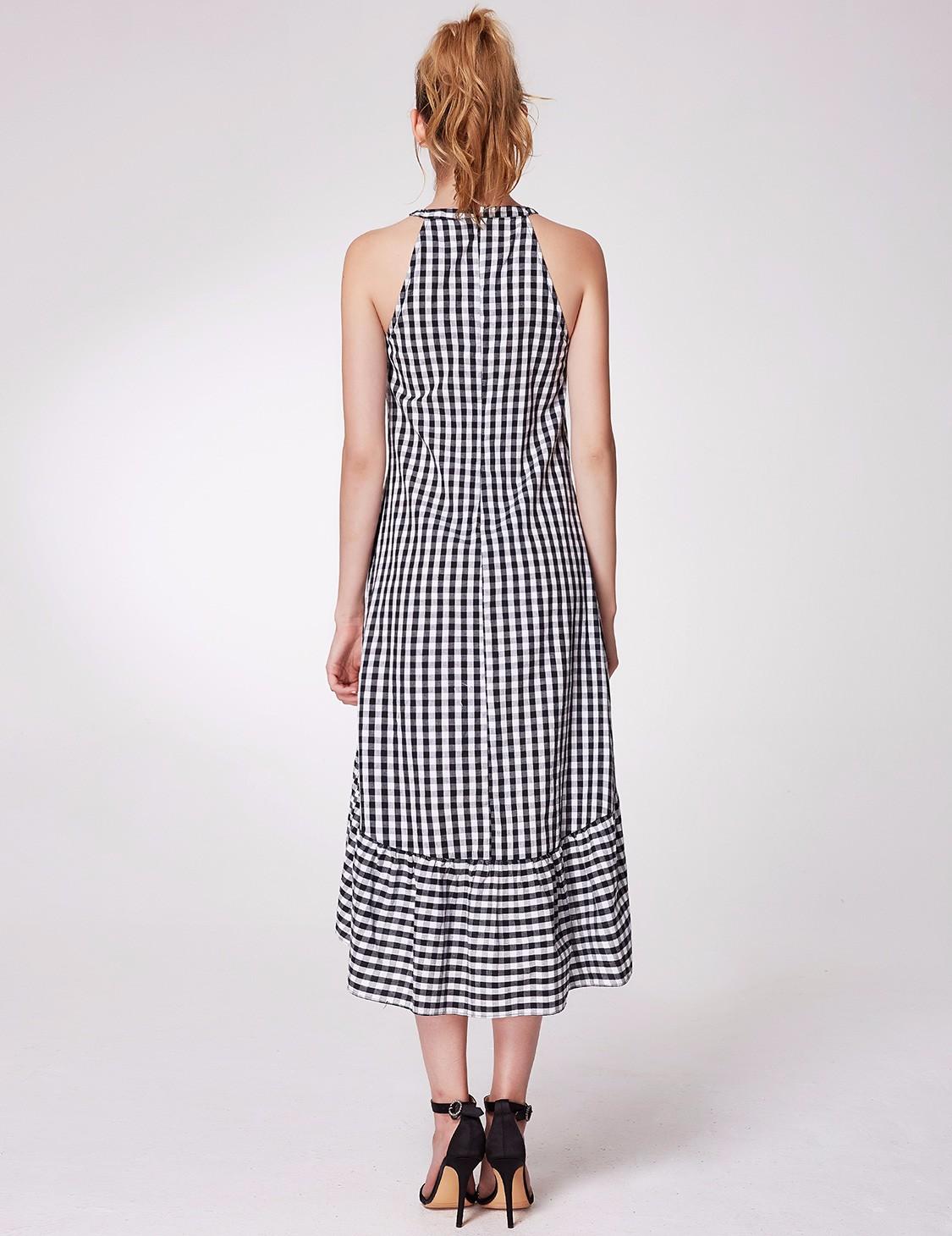 Alisa-Pan-New-Fashion-Halter-Sleeveless-High-low-Layered-Slim-Plaid-Dress-05989