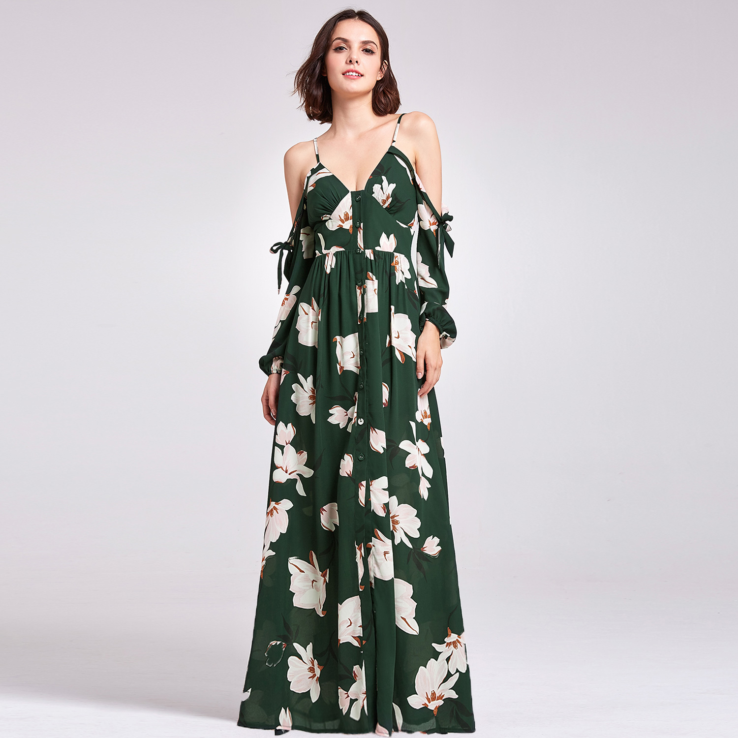 5d07e40e069fe Alisa Pan Cold Shoulder Floral Print Long Maxi Green Dress 07178 ...