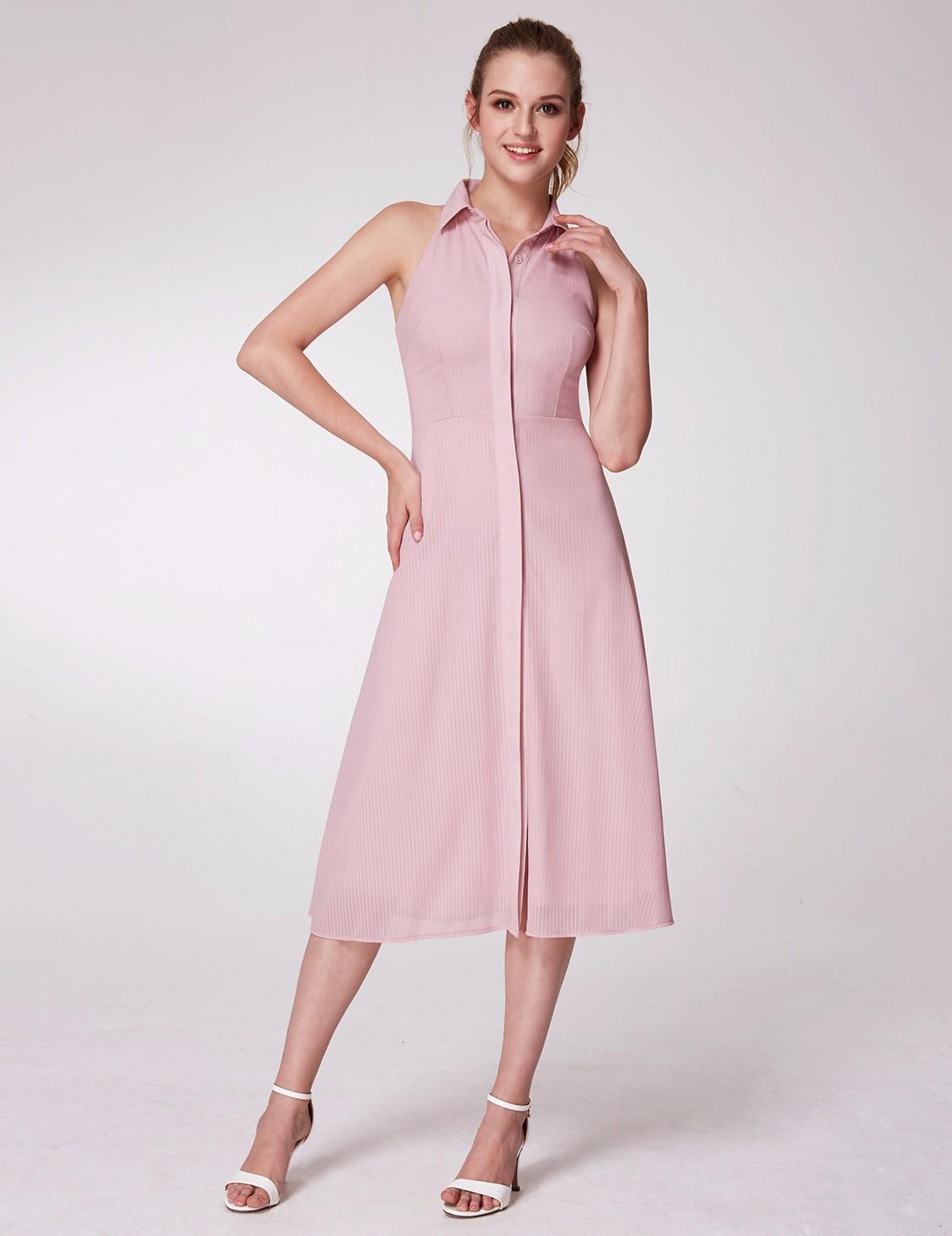 fe49849141f Alisa Pan Women s Pink Button Collar Sleeveless Casual Dresses a ...