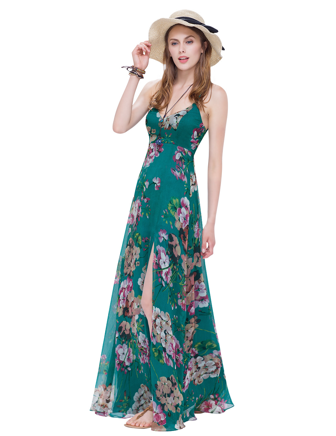 Alisa-Pan-Women-Long-Split-Summer-Beach-Dress-Maxi-Floral-Holiday-Dress-08906