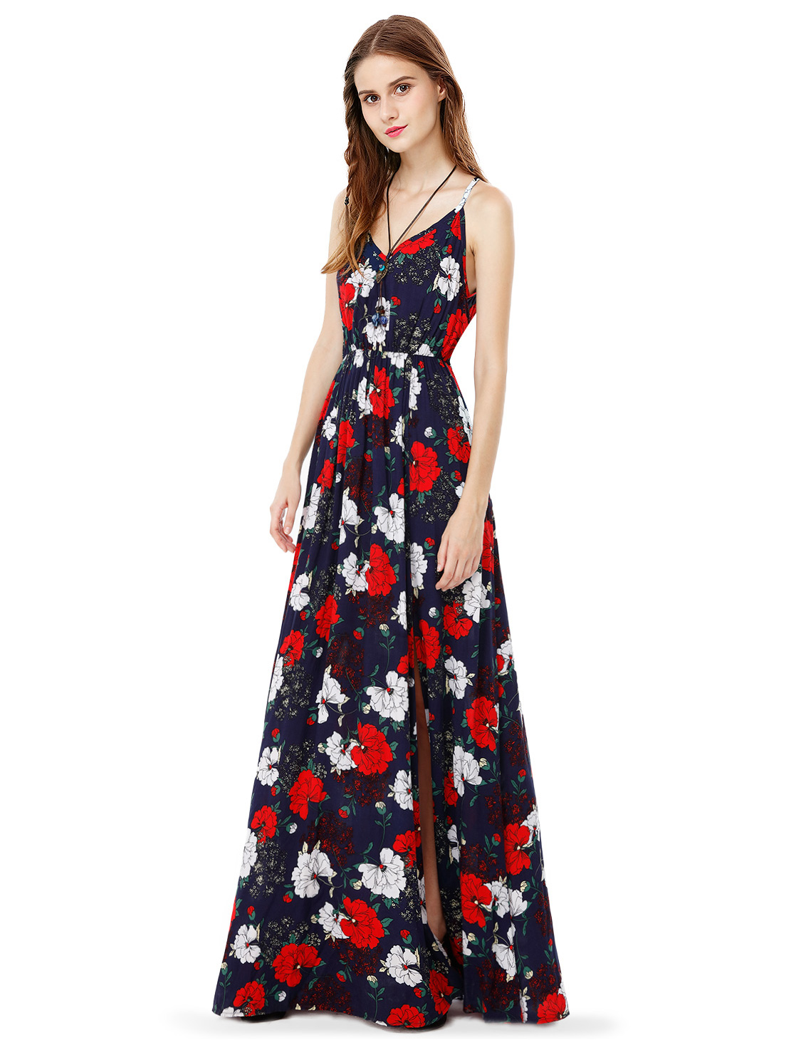 Women's Floral Printed Long Dresses Summer Beach Casual ...