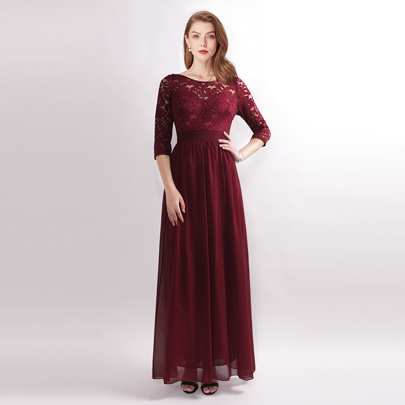 Women-Maxi-Formal-Bridesmaid-Dress-Lace-3-4-Lace-Sleeve-Evening-Prom-Dresses