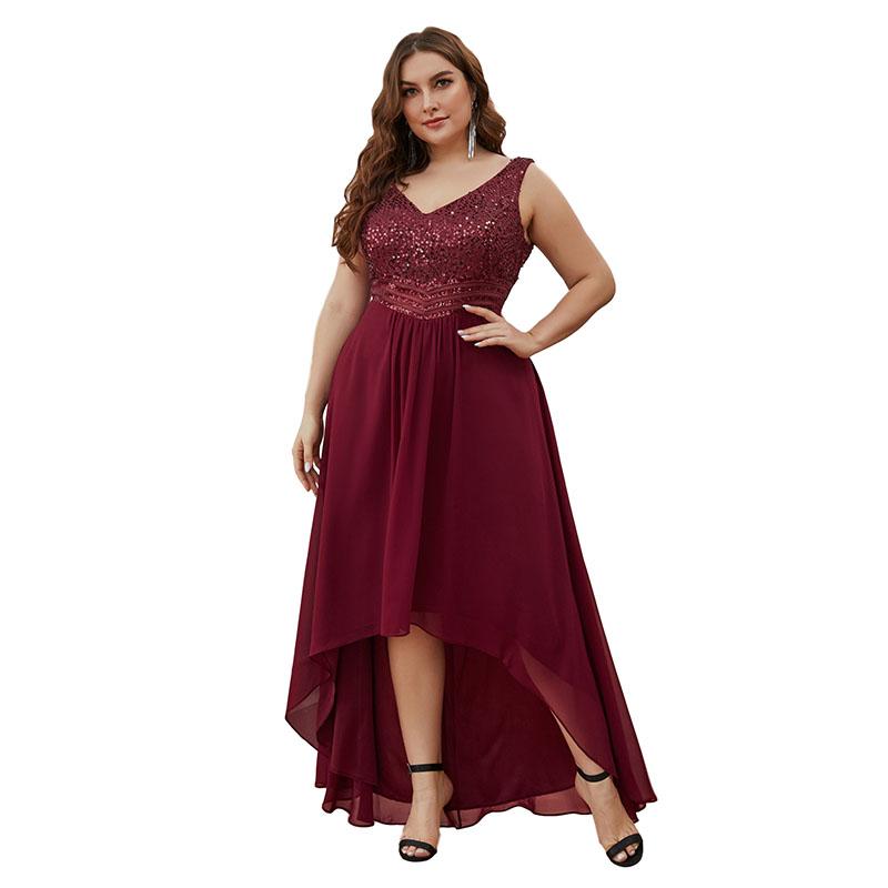 Ever-Pretty Burgundy Plus Size Lace Evening Dresses ...