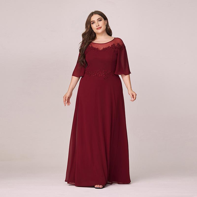 Ever-Pretty Burgundy Plus Size Chiffon Long Formal Dress ...