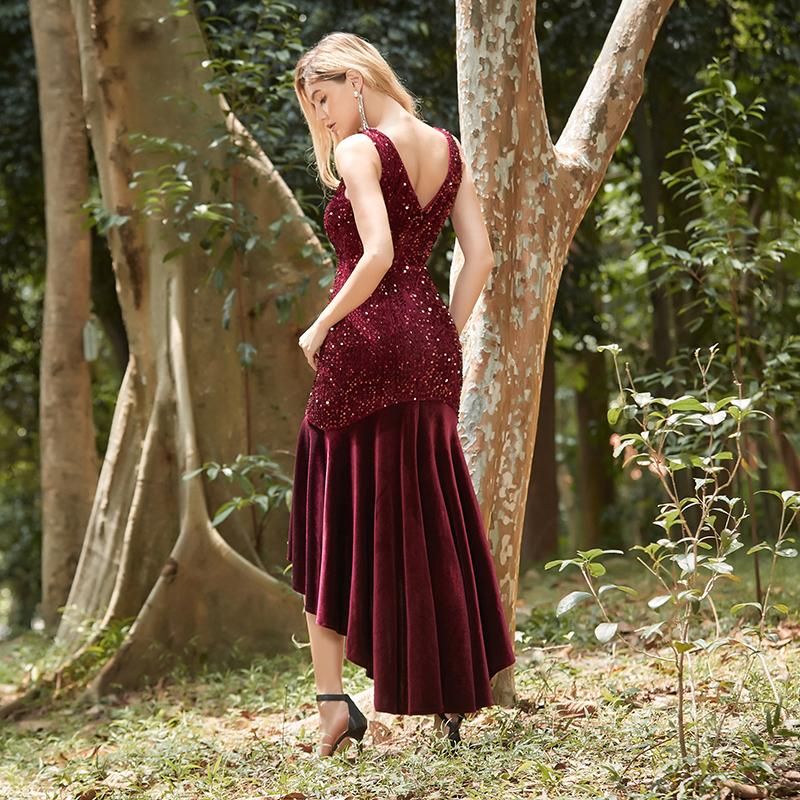 Ever-Pretty Velvet Bodycon Burgundy Evening Dresses ...