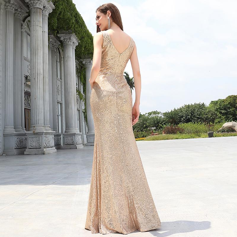 Ever-Pretty Gold Sequin Mermaid Evening Dresses V Neck ...