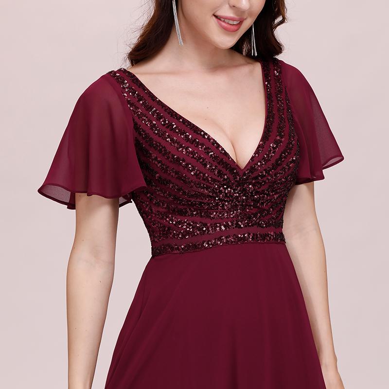 Ever-Pretty Burgundy Ruffles Sleeves Chiffon Prom Evening ...