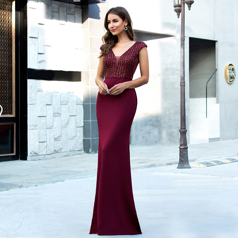 Ever-Pretty-Women-V-neck-Cap-Sleeve-Long-Prom-Dress-Fishtail-Evening-Party-Gowns thumbnail 10