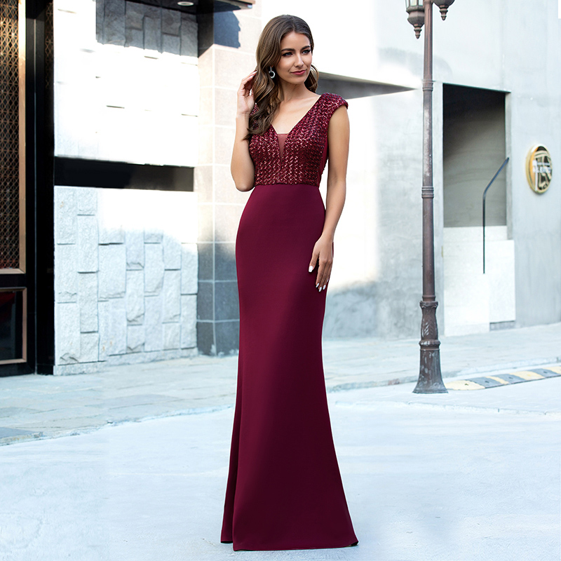 Ever-Pretty-Women-V-neck-Cap-Sleeve-Long-Prom-Dress-Fishtail-Evening-Party-Gowns thumbnail 11