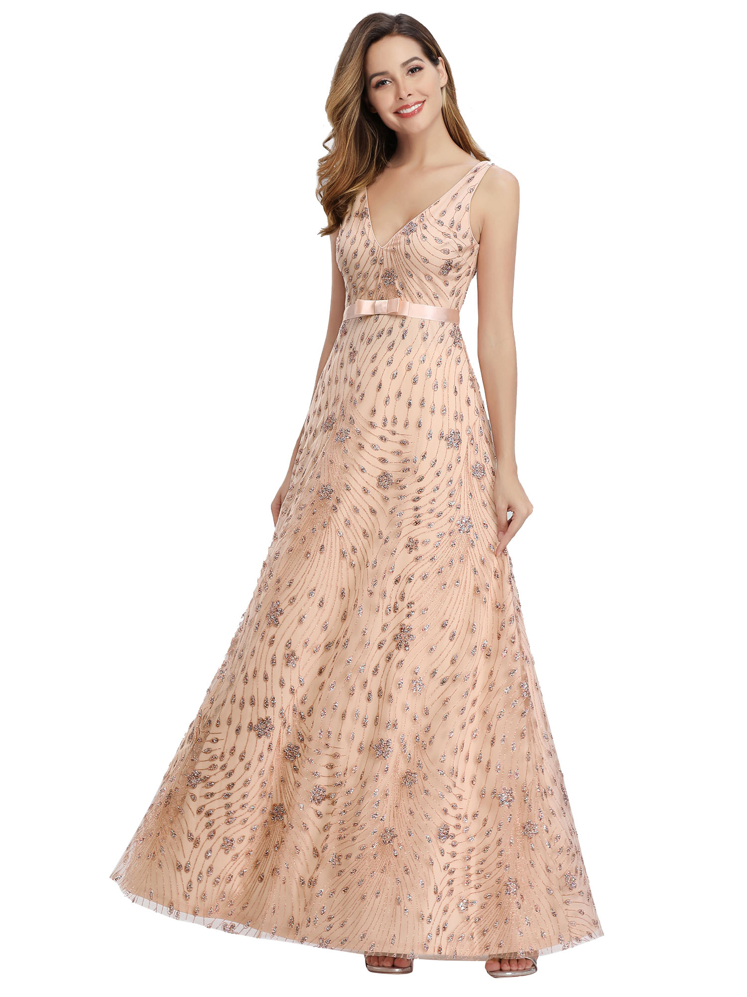 Ever-Pretty-US-Glitter-Evening-Dresses-A-Line-Floral-V-Neck-Party-Cocktail-Gowns thumbnail 8