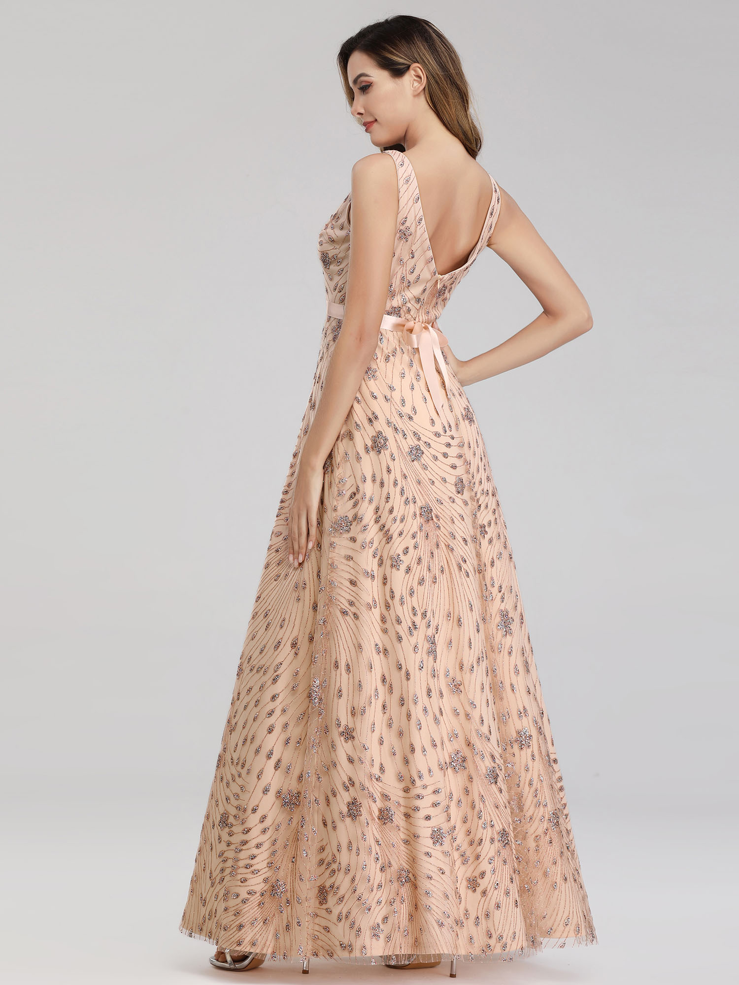 Ever-Pretty-US-Glitter-Evening-Dresses-A-Line-Floral-V-Neck-Party-Cocktail-Gowns thumbnail 9