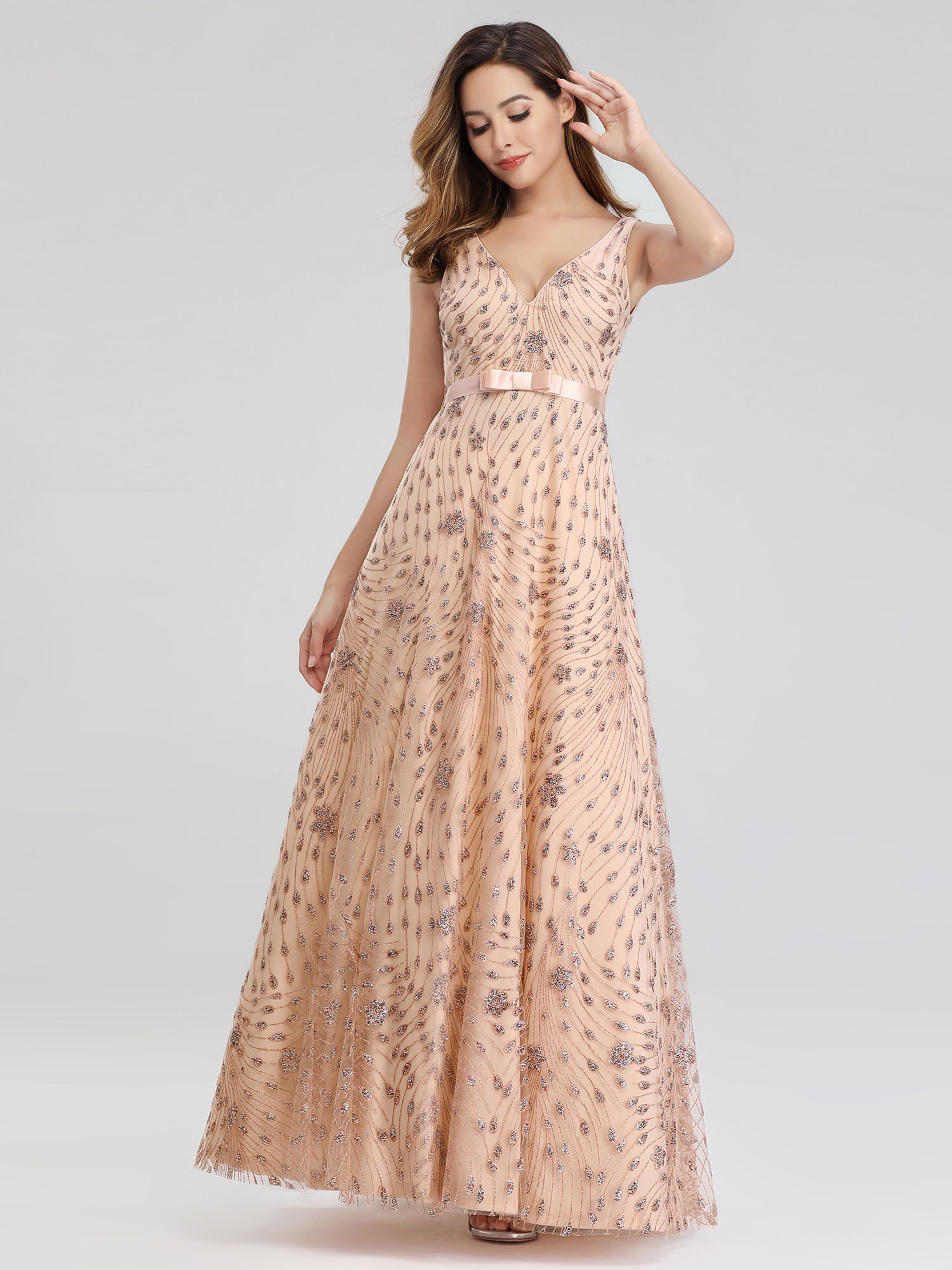 Ever-Pretty-US-Glitter-Evening-Dresses-A-Line-Floral-V-Neck-Party-Cocktail-Gowns thumbnail 10