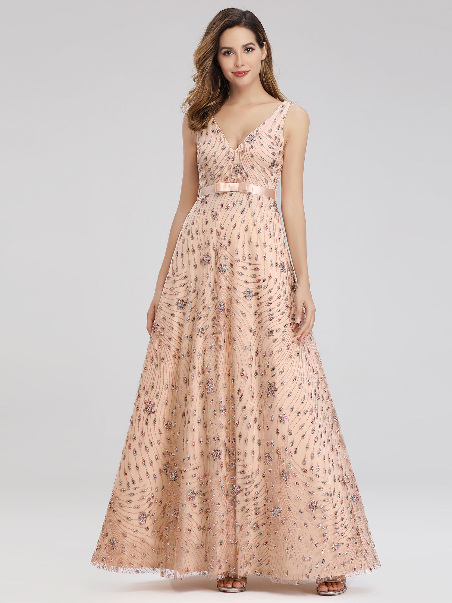Ever-Pretty-US-Glitter-Evening-Dresses-A-Line-Floral-V-Neck-Party-Cocktail-Gowns thumbnail 11