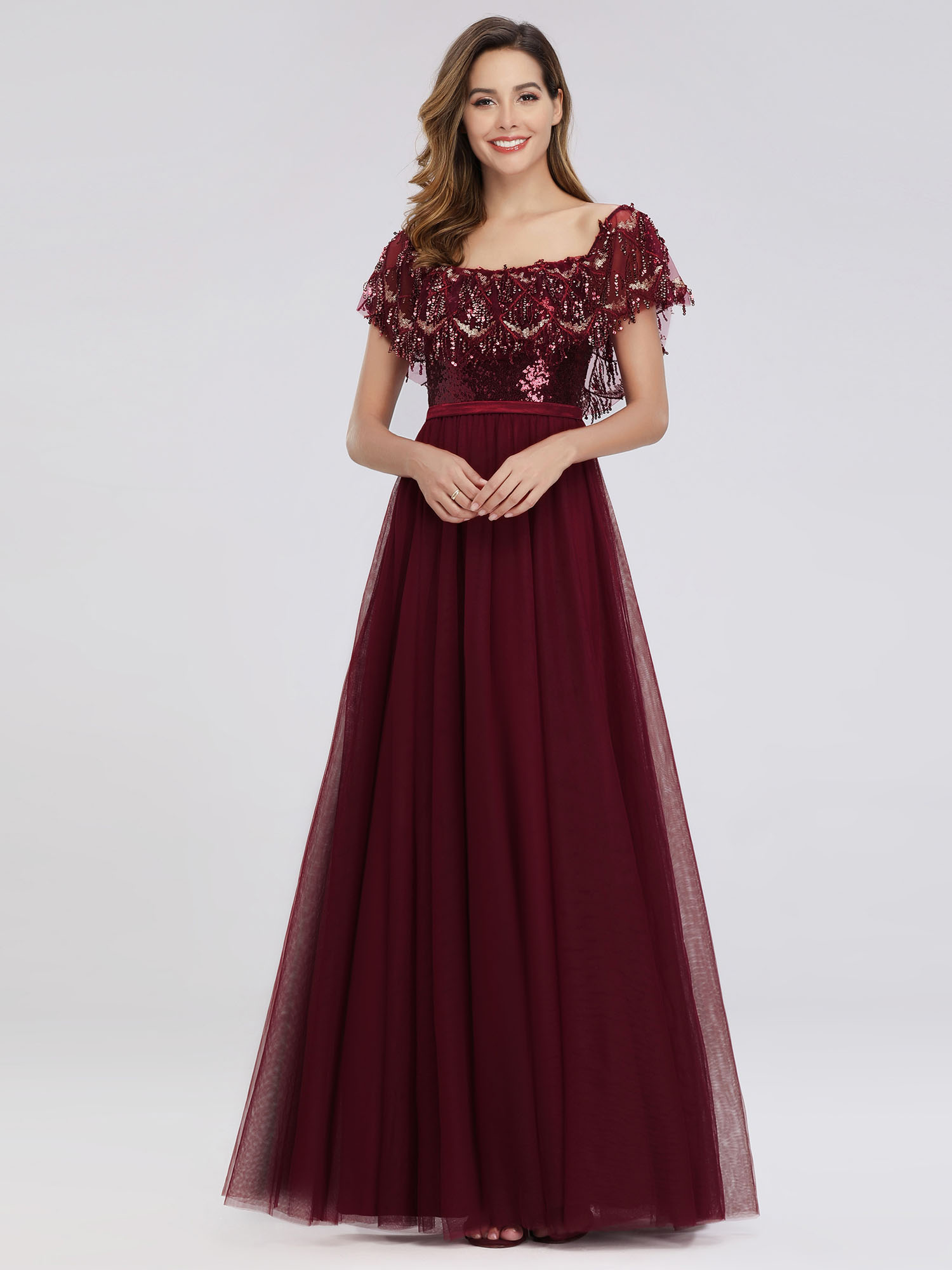 Ever-pretty Burgundy Formal Evening Gowns Off-shoulder ...